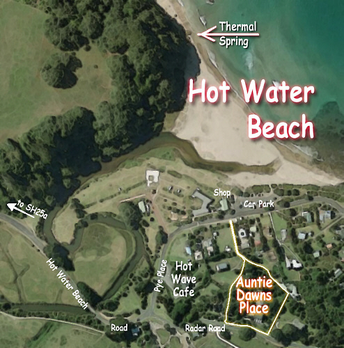 Aerial photo of Hot Water Beach